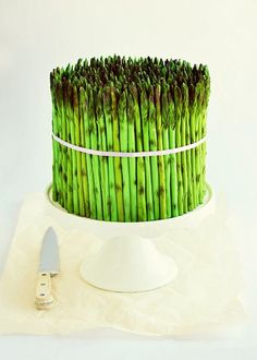 Asparagus Cake - I'll NEVER make this but it's pretty awesome!