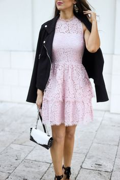 Light Pink Lace Tiered Fit and Flare Dress with Black Moto Jacket Feminine Style. Classy Dresses. Pink Dresses. Dresses for Spring. Dresses to wear to a Wedding. Graduation Dresses. Pink Lace Dress. Street Style. Houston Blogger Naomi Trevino of Finite1