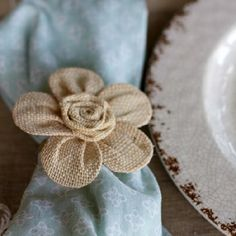 Easy DIY burlap flower napkin rings and ideas for setting a spring tablescape.