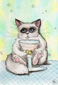 Meowtini. A surreal cat painting by me, Julie McDoniel.