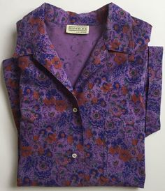 Penny black camicie donna manica corta viola size 44 46 48 vintage cotone retro