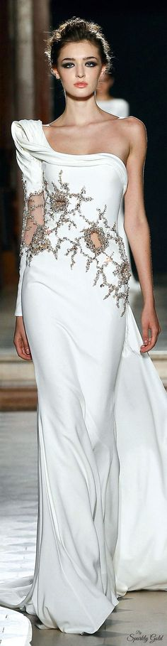 Tony Ward ~ Couture One Shoulder White Gown w Cascading Sequins + Cut-outs Fall 2015