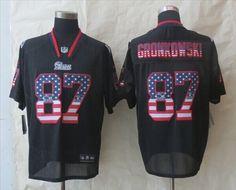 "$23.88 at ""MaryJersey"" (maryjerseyelway@gmail.com) #87 Rob Gronkowski, #11 Julian Edelman, #24 Darrelle Revis, #29 LeGarrette Blount - Nike New England Patriots Black Fashion USA Flag Number Men's Football Elite Jersey"