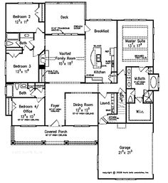 Floor Plans AFLFPW07378 - 1 Story Cottage Home with 4 Bedrooms, 3 Bathrooms and 2,336 total Square Feet
