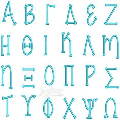 """Greek Party Embroidery Font Size: 1"""", 2"""" 3"""" and 4"""""""