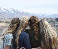 Best friend goals // hair goals // braids // long hair // brunette // blonde