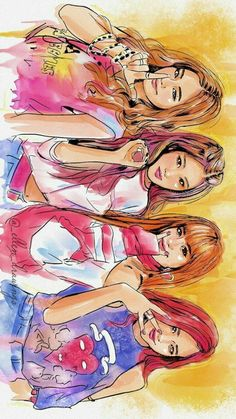 Fanart of Blackpink Best Friend Drawings, Kpop Drawings, Cute Drawings, Drawing Faces, Cosplay Tips, Blackpink Memes, Poster S, Black Pink Kpop, Blackpink Photos