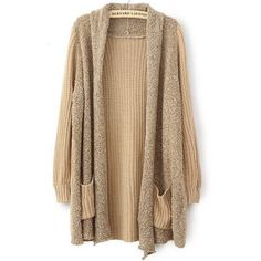 SheIn(sheinside) Khaki Long Sleeve Pockets Loose Cardigan Sweater (520 UAH) ❤ liked on Polyvore featuring tops, cardigans, outerwear, sweaters, jackets, khaki, knit cardigan, loose knit cardigan, long cardigan и knit tops