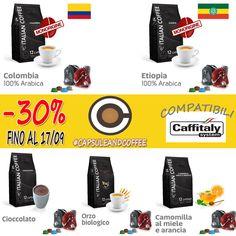 OFFERTA ! Sconto del 30% su tutte le capsule compatibili Caffitaly  -8 miscele di caffè - Decaffeinato - Orzo - Ginseng - Cortado - Cioccolato - The al limone - Camomilla Miele e Arancia  Approfittane subito, promozione valida fino al 17/09  #capsuleandcoffee #glispecialistidecaffè #capsule  #cialde #compatibili #offerta  #caffitaly #Fano #Pesarp