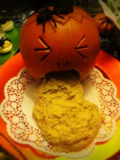 Halloween Party food- puking pumpkin veggie dip
