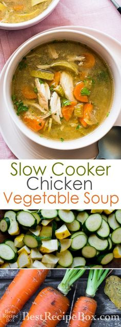 Easy recipe for a slow cooker chicken vegetable soup. This slow cooker chicken soup recipe is loaded with vegetables and is healthy, low calorie. Vegetable Korma Recipe, Yummy Vegetable Recipes, Vegetable Soup With Chicken, Chicken And Vegetables, Healthy Recipes, Vegetable Samosa, Vegetable Casserole, Vegetable Dishes, Vegetable Pizza