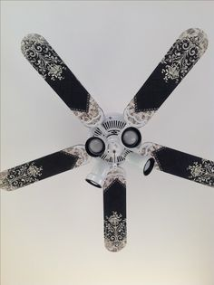 Take down the fan blades and paintstencil themlove this crafts my take on modge podge ceiling fan redo thank you for the idea i aloadofball Images
