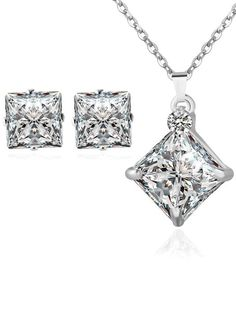 Rhinestone Square Wedding Jewelry Set #women, #men, #hats, #watches, #belts, #fashion, #style