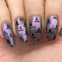 Witch hat Halloween nail art