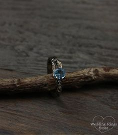 Branch engagement ring with topaz and diamond Women's