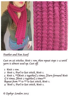 looks easy enough. Feather and Fan Scarf Pattern  Easy to medium  By Zephyr London