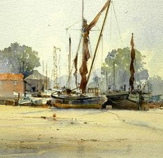 by David Howell Watercolor Artwork, Watercolor Landscape, Landscape Paintings, Landscapes, Oil Paintings, Somerset, David Howell, Gouache, Hugo Pratt