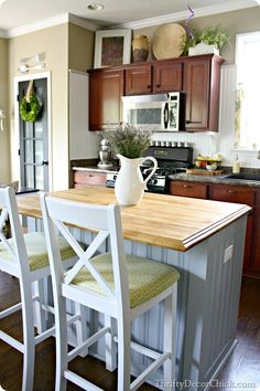 Butcher block on your island @ThriftyDecorChick