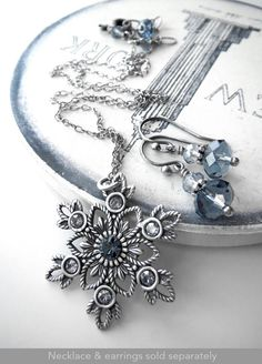 Snowflake Necklace Antiqued Silver Snow Flake Pendant by ShySiren