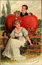 Vintage Post Card Valentine Greetings Lady and Man with Heart and Roses