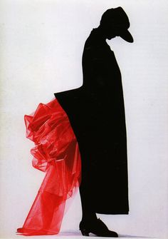 Yohji Yamamoto FW 1986/87 Interesting  silhouette. But would not wear a garment that looks like toilet paper stuck in crack.