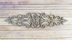 Wall Decor Cast Iron Pediment Fleur de Lis Antique White Rustic Vintage French Country Up Cycled Eco Friendly…