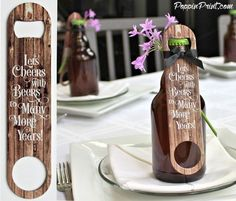Bottle Opener Wedding Favors with Rustic Wood Fence say Lets Cheers with Beers to Many More Years on both sides. Our Stainless Steel Bottle Cap