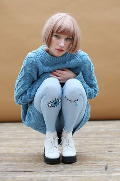 Oversized Knit Jumper Sky Blue www.thewhitepepper.com/collections/knitwear/products/oversized-knit-jumper-sky-blue Eye Print Leggings www.thewhitepepper.com/collections/new-in/products/eye-print-leggings