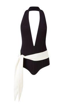 Riri Two-Tone Halter-Neck Swimsuit by Lisa Marie Fernandez - Moda Operandi