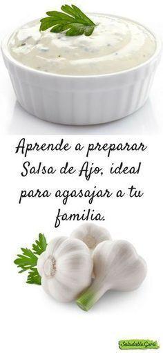 Aprende a preparar Salsa de Ajo #sal #pimienta #mayonesa #aceite #oliva #manteca #tomillo #mostaza #limon #jugo #yogur #perejil