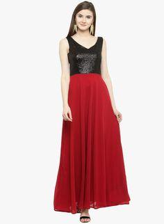 b9730ce3a0b Women Dresses Jumpsuits Dresses - Buy Women Dresses Jumpsuits Dresses online  in India. Maroon Embellished Maxi Dress