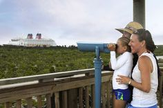 For a breathtaking view of Castaway Cay and the Disney Cruise Line ship in the distance, you can journey down the bike trail toward the interior of the island and climb to the top of the observation tower. Don't forget your camera!