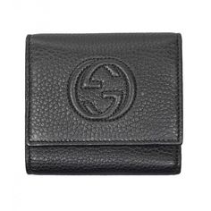 Gucci Black Leather Soho Flap Wallet ($400) ❤ liked on Polyvore featuring bags, wallets, gucci, black wallet, leather change purse, gucci wallet and snap wallet