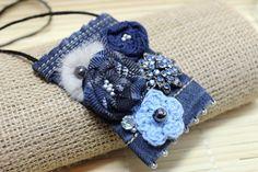 Items similar to Jeans Boho Pendant,Blue necklace, Jeans Necklace, Bohemian Jewelry on Etsy Scarf Jewelry, Textile Jewelry, Fabric Jewelry, Fabric Necklace, Blue Necklace, Denim Bracelet, Diy Jewelry Projects, Denim Crafts, Crochet Bracelet