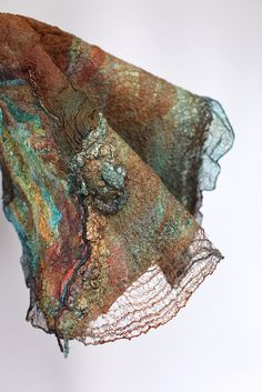 """Nuno felted scarf by Marina Shkolnik. This is SO beautiful!"" It surely is, love the colour palette. S"