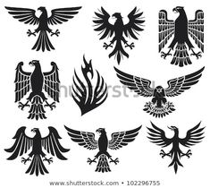 heraldic eagle set - Buy this illustration at Shutt .- heraldic eagle set – Kaufen Sie diese Illustration bei Shutterstock und finden… heraldic eagle set – Buy This Illustration at Shutterstock and Find More Images. Adler Silhouette, Adler Tattoo, Eagle Vector, Trash Polka Tattoo, Eagle Tattoos, Tribal Eagle Tattoo, Logo Design, Set Design, Oldschool