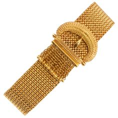 Victorian Mesh Buckle Tassel Bracelet, 1900, 14k gold Etruscan revival mesh tassel buckle bracelet.