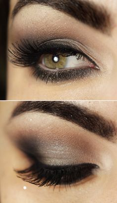 Smokey eye look for #HazelEyes. READ this article to get 10 #makeup tips for hazel eyes. http://minkilashes.org/10-blonde-hair-hazel-eyes-makeup-tips-to-make-eyes-pop/