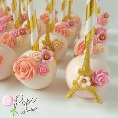 Wow stunning statement cake pops. Paris French wedding flowers