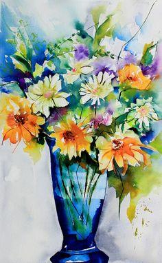 Le temps des fleurs - Painting,  50x30 cm ©2014 par Véronique Piaser-Moyen -  Peinture