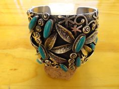 Vintage Navajo Cuff Bracelet, Sterling Silver, Nevada Turquoise, Signed LMC