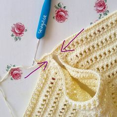 Diy Crafts - Crochet bodice for a toddler dress tutorial Crochet Baby Bibs, Crochet Yoke, Crochet Vest Pattern, Crochet Girls, Crochet Baby Booties, Crochet For Kids, Crochet Clothes, Crochet Stitches, Baby Knitting