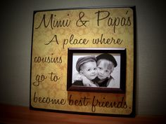 Custom Grandparents Picture Frame, Mimi and Papa
