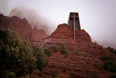 A Catholic chapel in Sedona, Arizona, designed by Marguerite Brunswig Staude, a student of Frank Lloyd Wright.