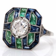 Art Deco Diamond, Sapphire, Emerald & Platinum Ring