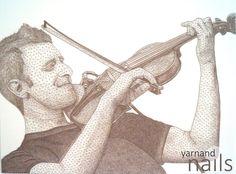 string art, Nr. 41 over 7000 nails about 1 km yarn 70 hours of work portrait: Karl James Pestka, Árstíðir