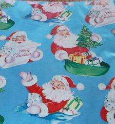 VTG CHRISTMAS WRAPPING PAPER GIFT WRAP SANTA KITTEN PRESENTS ON BLUE 1940s WW2