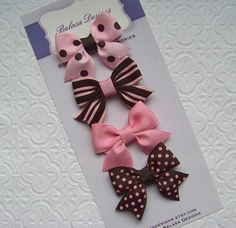 Boutique Pink and Brown Petite Bow Set