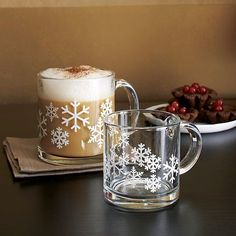 Snowflake Glass Mugs by Crate and Barrel: $5 These are so cheap, you could pair them with a mini...