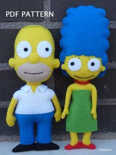 PDF pattern to make felt dolls inspired in Homer and Marge Simpson: